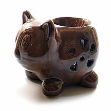 Коричневая аромалампа Кошка из керамики
