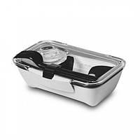 Ланчбокс прямоугольный Bento Box Black+Blum (белый-черный), фото 1