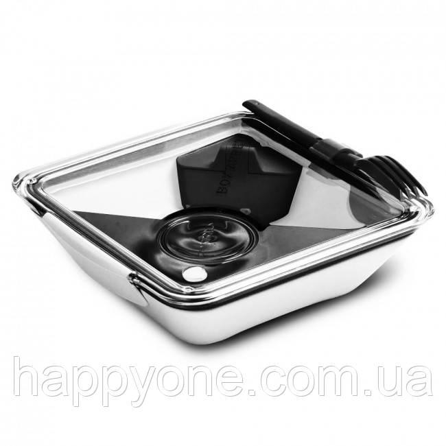 Ланчбокс квадратный Box Appetit Black+Blum (белый-черный)