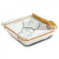 Ланчбокс квадратный Box Appetit Black+Blum (белый-оранжевый), фото 1