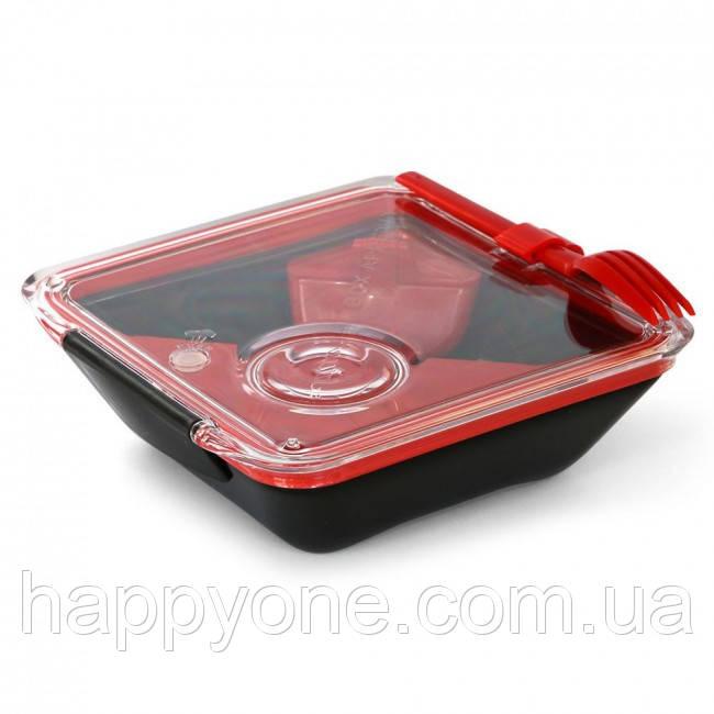 Ланчбокс квадратный Box Appetit Black+Blum (черный-красный)