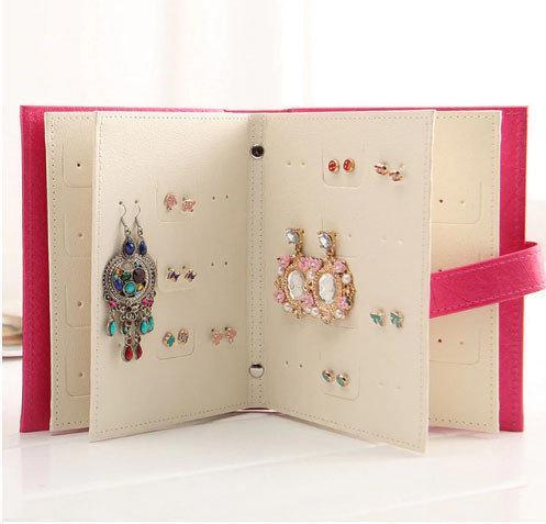 Шкатулка для сережек планшетка Книга розовая