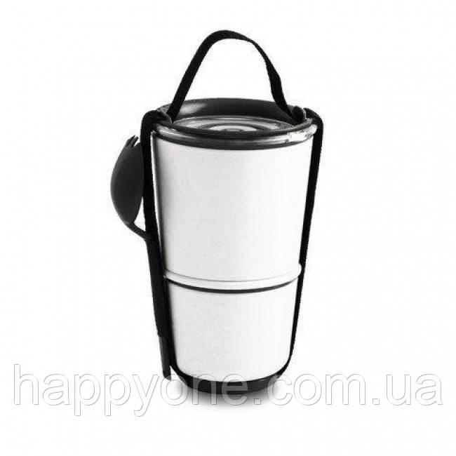 Ланчбокс Lunch Pot Black+Blum (белый-черный)