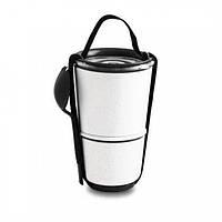Ланчбокс Lunch Pot Black+Blum (белый-черный), фото 1