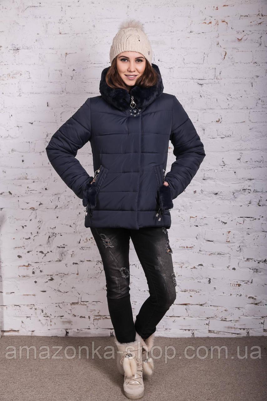 Женская куртка с экомехом на зиму модель 2019 - (модель кт-356)