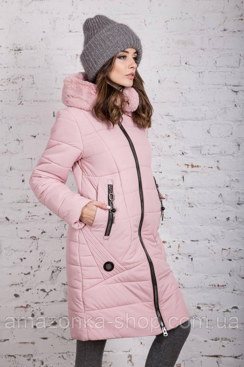 Женское пальто с экомехом зима 2019 - (модель кт-361)