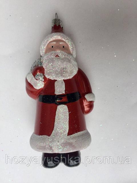 """Елочная игрушка фигурная """"Дед мороз с мешком"""" красная 7х15 см"""