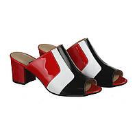 Женские лаковые красные сабо на невысоком каблуке