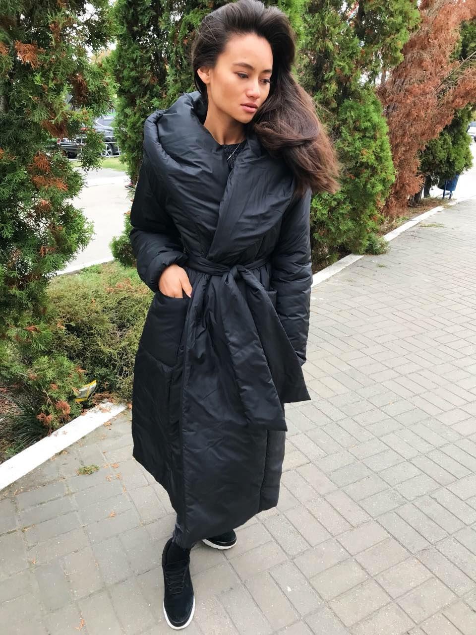 Плащевое пальто женское с большим воротником 3402146