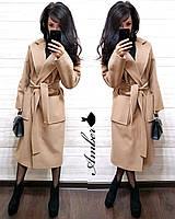 Кашемировое женское пальто классика под пояс 802147, фото 1