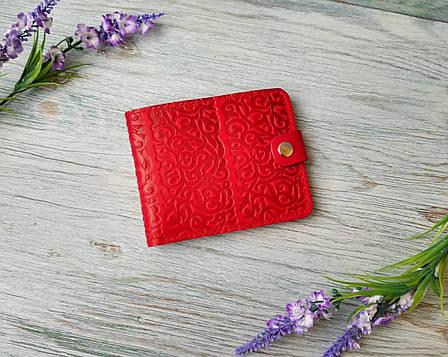 Портмоне  красные из натуральной кожи восточные узоры, фото 2