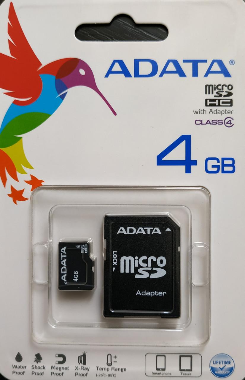 Карта памяти микро SDHC Adata 4 гб класс 4 с адаптером