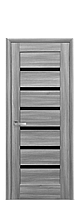Межкомнатные двери Линнея Бук Пепельный с черным стеклом , фото 1