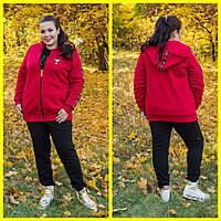 Женский спортивный теплый костюм-тройка в батале 10151112, фото 1