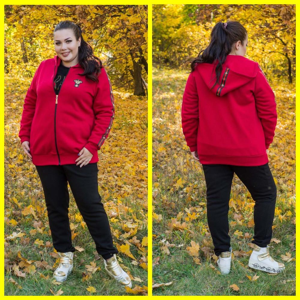 Женский спортивный теплый костюм-тройка в батале 10151112