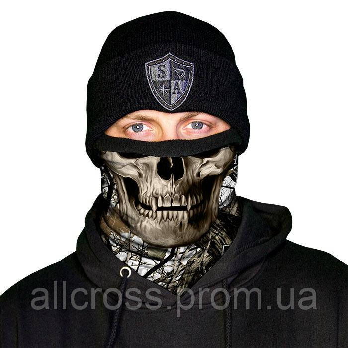 Зимний камуфлированный бафф с черепом  White Forest Camo Skull
