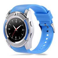 Cмарт часы телефон Smart Watch V8 голубой