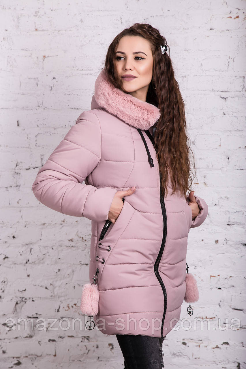Нежное женское полупальто с экомехом зима 2019 - (модель кт-379)