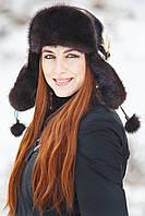 Женская шапка ушанка из меха кролика Рекс с Норкой Yn-23