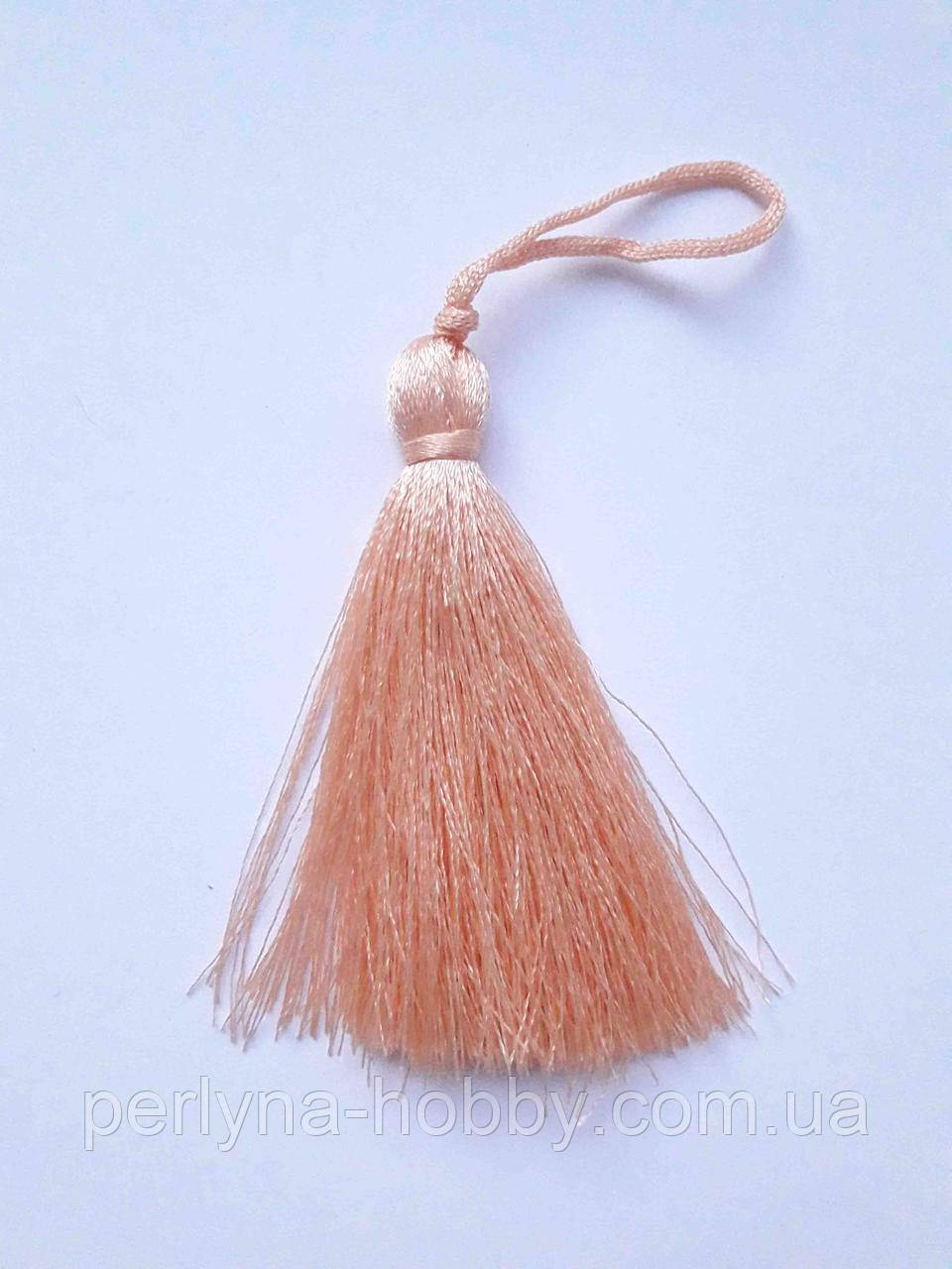 Кисточка  Кисть  декоративная текстильная Китиця декоративна мала 7 см персиковий ніжний, пудра, 1 шт.