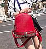 Рюкзак женский кожзам однотонный с заклепками Красный, фото 4