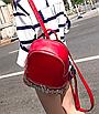 Рюкзак женский кожзам однотонный с заклепками Красный, фото 3