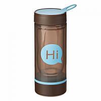 Бутылка для воды Hi со стеклянной колбой и отсеком для таблеток (голубая), фото 1