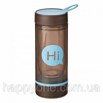 Бутылка для воды Hi со стеклянной колбой и отсеком для таблеток (голубая)