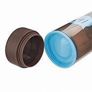 Бутылка для воды Hi со стеклянной колбой и отсеком для таблеток (голубая), фото 3