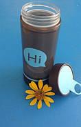 Бутылка для воды Hi со стеклянной колбой и отсеком для таблеток (голубая), фото 4