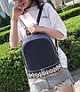 Рюкзак женский кожзам однотонный с заклепками Синий, фото 3