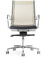 Дизайнерская кресло Havana Mini - для офиса и кабинета! - HAV1M@/B/G и отделка в натуральной коже премиум, подлокотники хромированные
