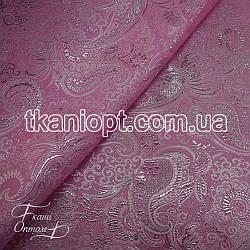 Ткань Парча (серебро на розовом)