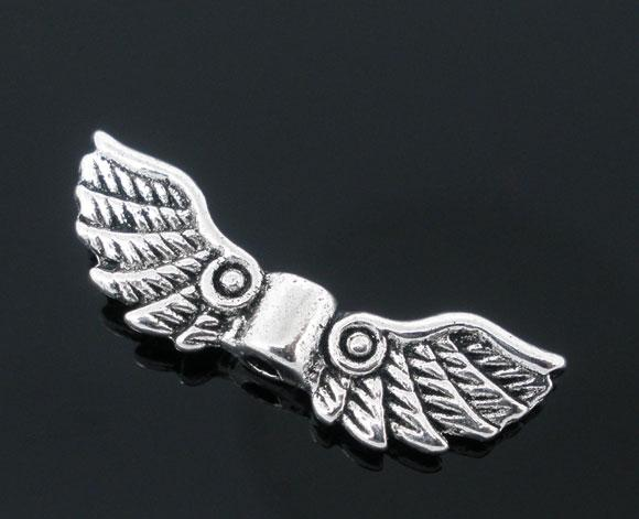 Бусина Крылья Ангела, Цинковый сплав, Цвет: Античное серебро, 22 мм x 7 мм, 1.3 мм