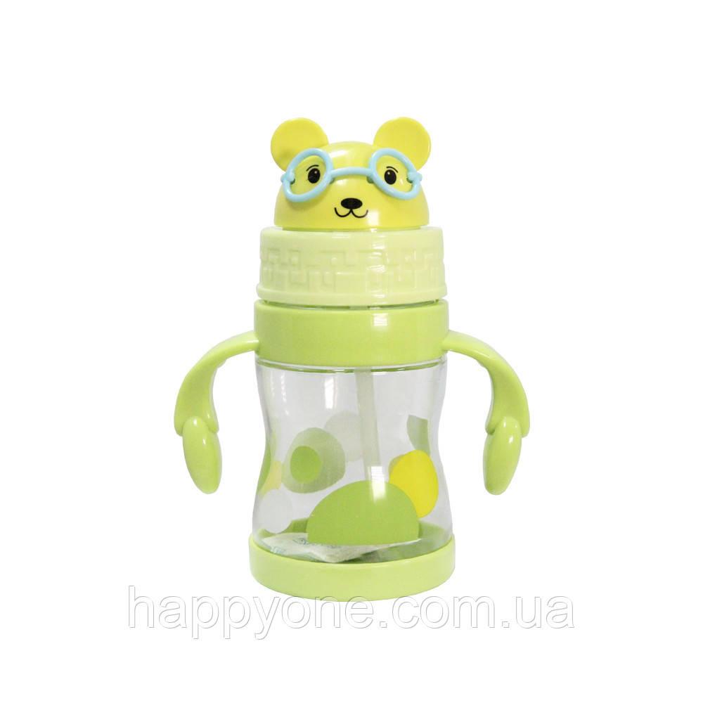 Детская бутылочка с трубочкой и ручками (360 мл) салатовая