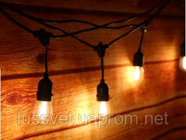 Светодиодная гирлянда из лампочек 2м HOLIDAY BULB STRING 10ламп  тепл.белая (черн. кабель)