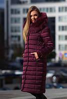 Женское зимнее классическое пальто с натуральным мехом