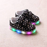 Black&Stars kids, Черные со звездами светящиеся кроссовки LED, размер 21-30 (LK 1052)