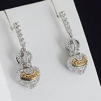 """Очаровательные серьги """"Chanel"""" с кристаллами Swarovski, покрытые золотом 0928"""