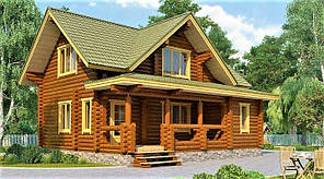 Дом из оцилиндрованного бревна 8х9