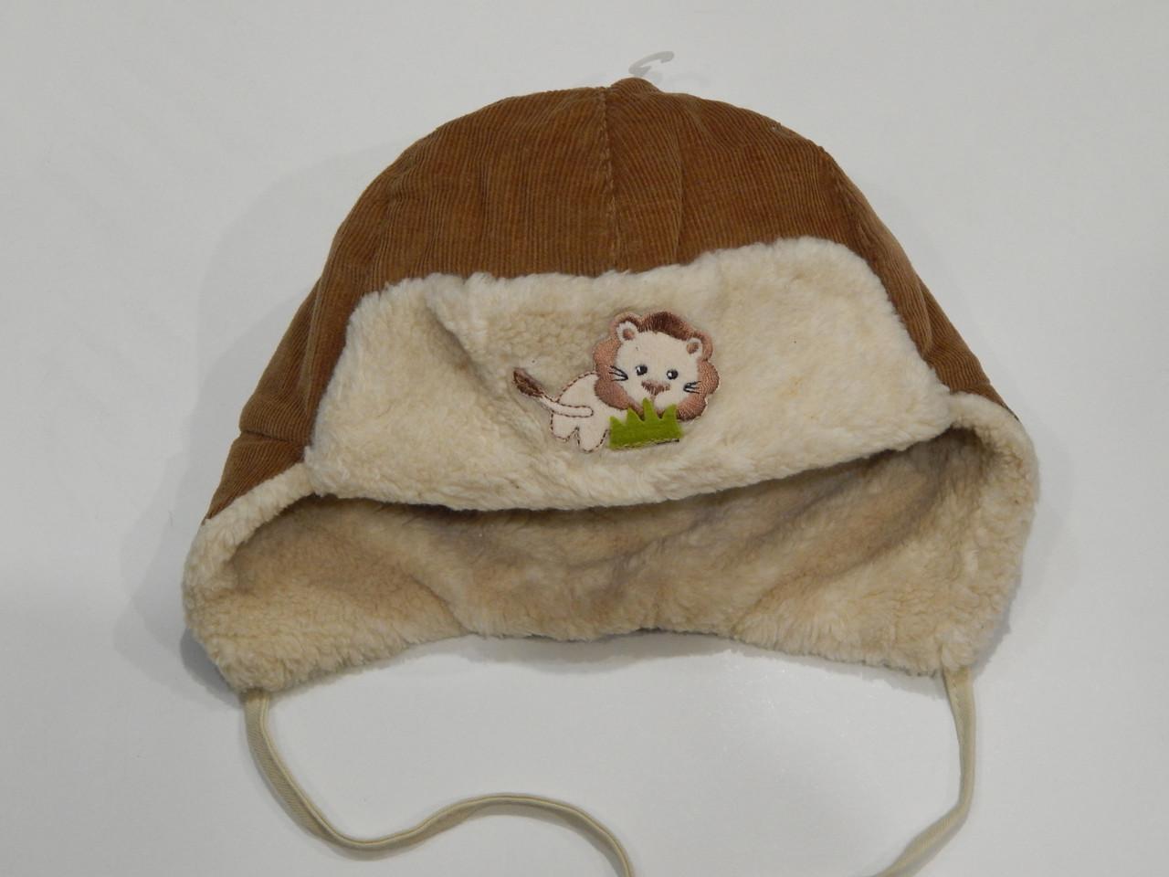 Зимняя шапка-ушанка для мальчика объем головы 47