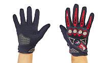 Мотоперчатки текстильные с закрытыми пальцами и протектором FIRE ROLLER (р-р M-XL, красный)