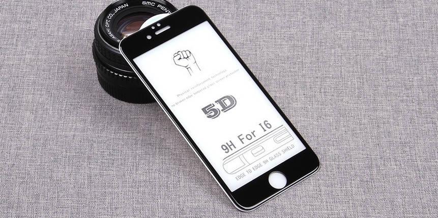Стекло Full Coverage 5D Iphone 6/6S Black, фото 2