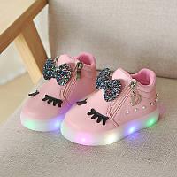 Pink Eyes kids, Розовые ботиночки со светящейся подошвой, размер 27 (LK 1054)