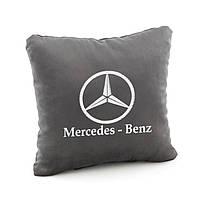 Подушка с лого Mercedes Benz темно-серый флок_склад