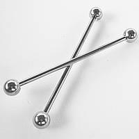 Индастриал штанга 38 мм для пирсинга ушей (цена за 1шт). Медицинская сталь.