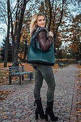 Женская кожаная сумка 12 темно-зеленый флотар 01120105