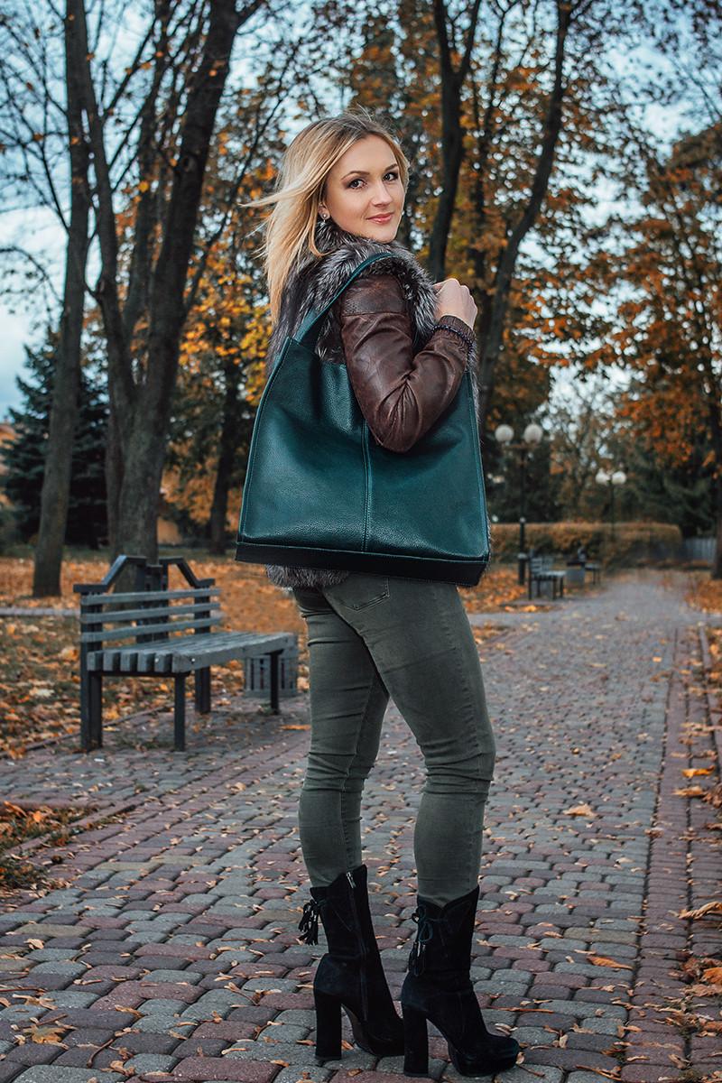Женская кожаная сумка 12 темно-зеленый флотар