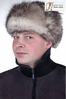 Мужская ушанка из натурального меха опоссум  МО5   Серый