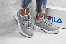 Жіночі зимові кросівки Fila,сірі,на хутрі 38р, фото 2